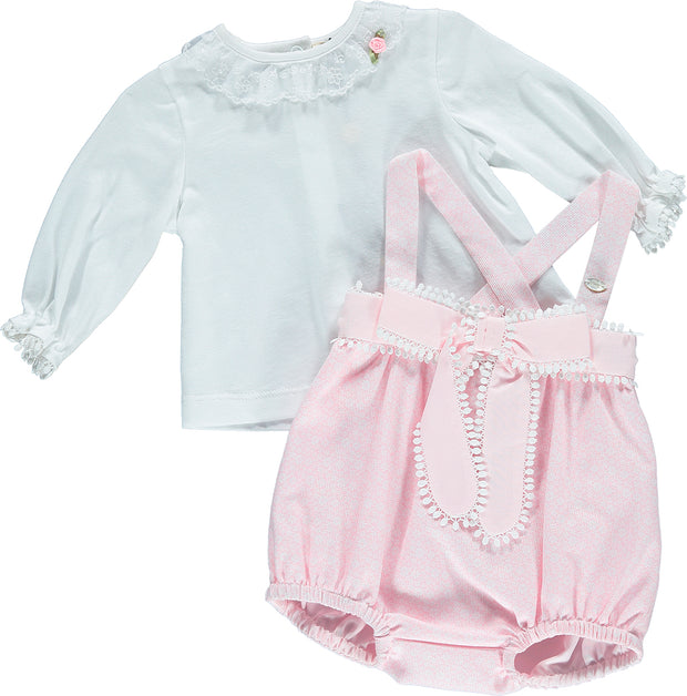 Girl White and Pink 2 Piece Outfit Set