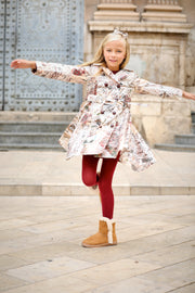 Girls Beige Map Coat