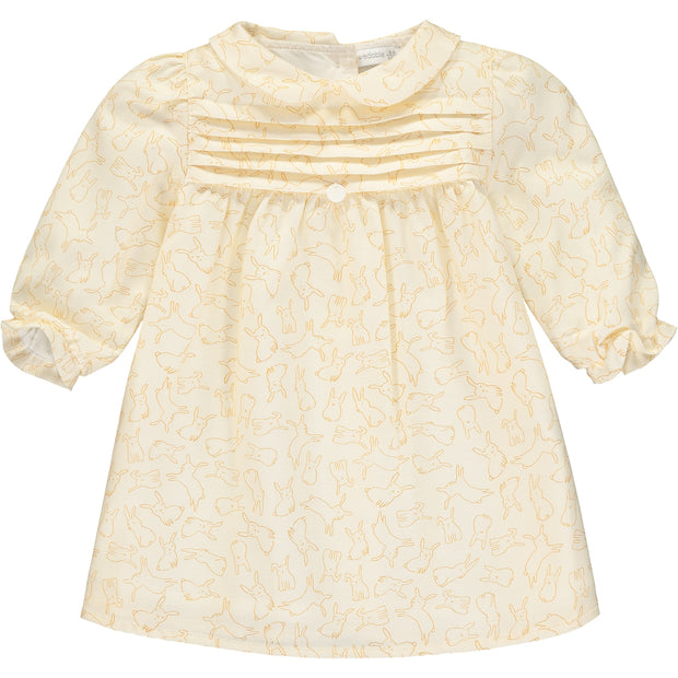 Girls Cream Cotton Dress