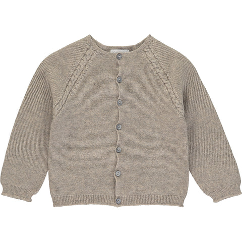 Light Brown Knitted Wool Cardigan