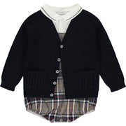 Baby Boy Grey & Blue Tartan Outfit Set
