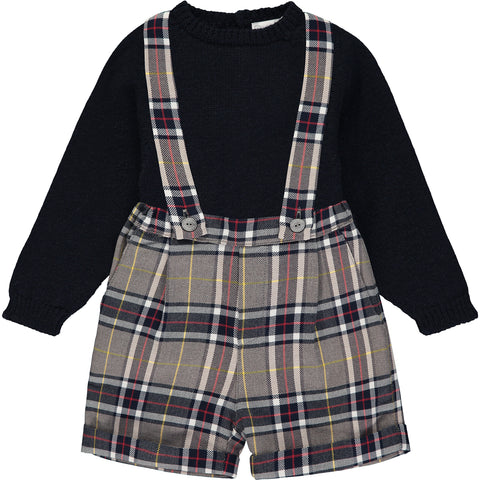 Baby Boy Grey & Blue Tartan Shorts and Jumper outfit Set