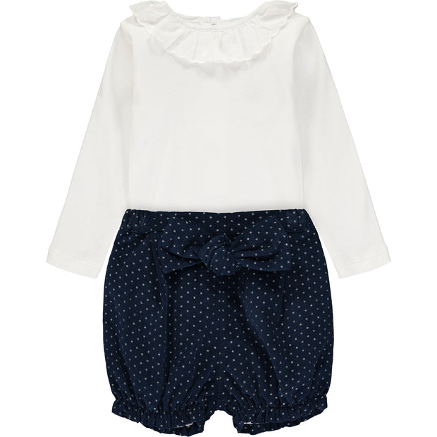 Baby Girl Outfit Set Bodysuit and Blue Sparkly Cotton Velvet Shorts