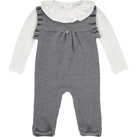 Baby Girl Knitted Dungaree Outfit Set
