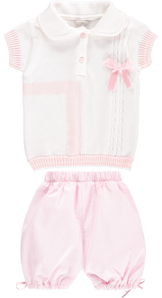 White Top and Baby Pink Shorts Outfit Set