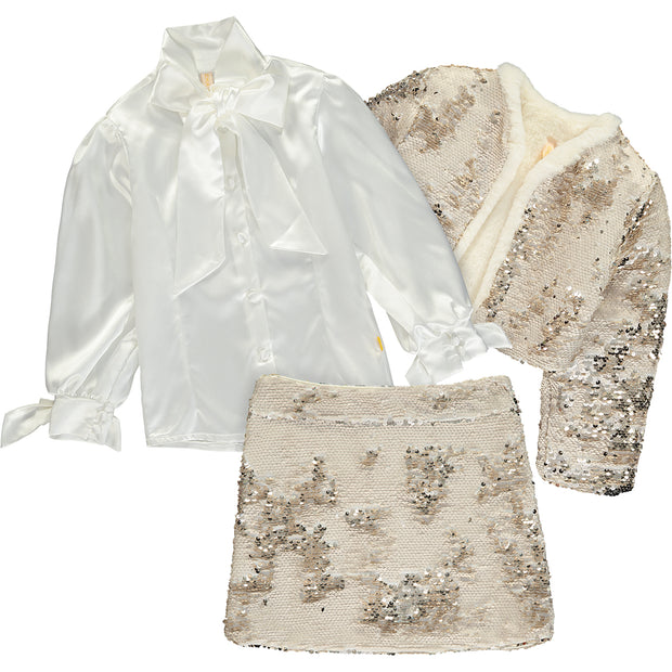 Sequin Jacket, Skirt and Blouse Outfit Set