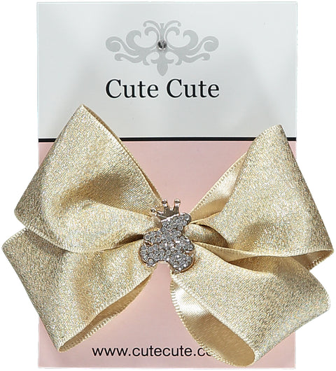 Gold Bow With Gold Teddy Hairclip - 10cm