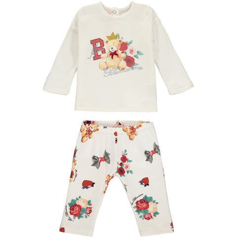 Baby Girl Teddy Bear Cotton Outfit Set