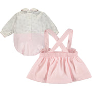 Baby Girl Pink and Ivory Skirt Set