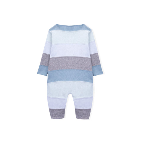 Baby Boys Blue Knitted Babygrow
