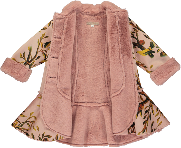 Girls Pink Velvet Coat with Faux Fur
