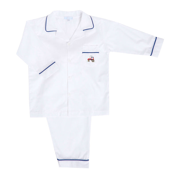 Boys White Tractor Pyjamas
