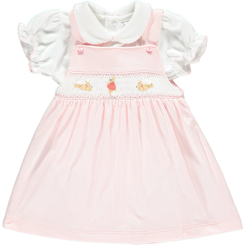 Girls Hand-Embroidered Flopsy Bunny Pink Cotton Dress and Top Set