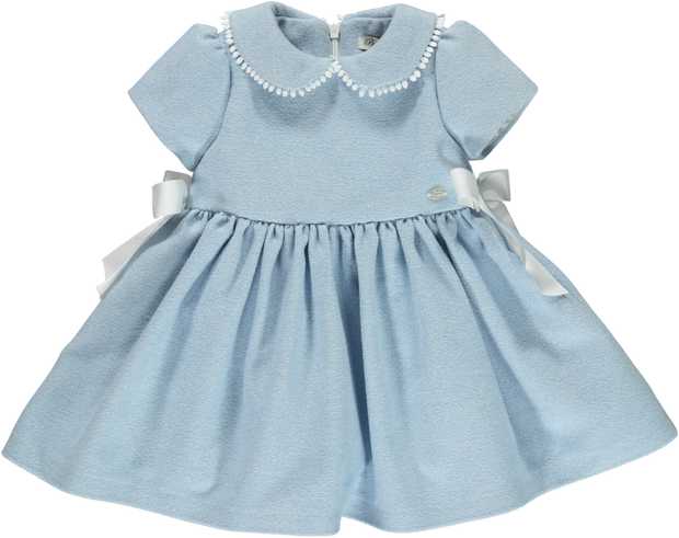 Baby Girl Light Blue Wool Blend Dress