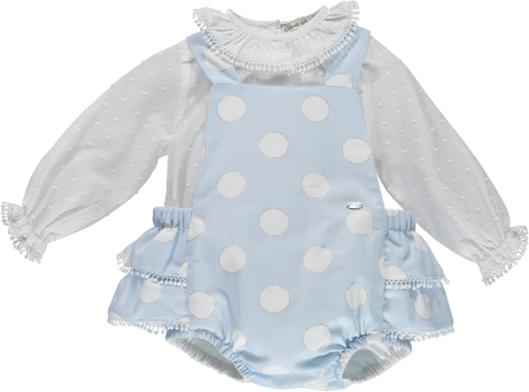 Baby Girl White and Light Blue 2 Piece Outfit Set