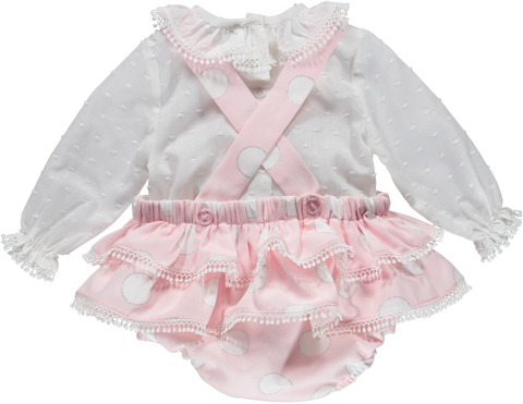 Baby Girl White and Pink 2 Piece Outfit Set