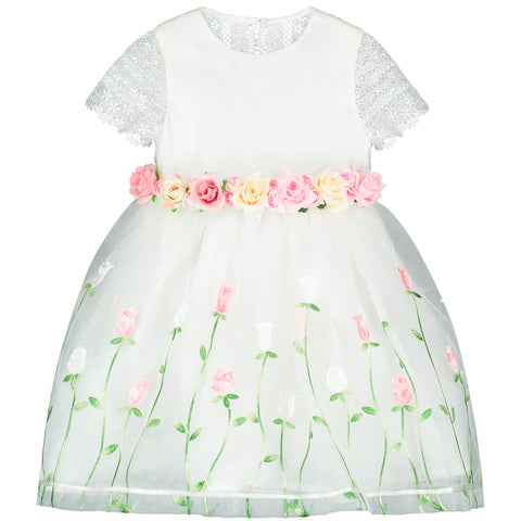 White Embroidered Flowers Chiffon Dress