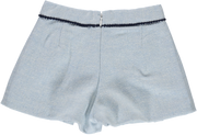 Girls Light Blue Wool Blend Shorts