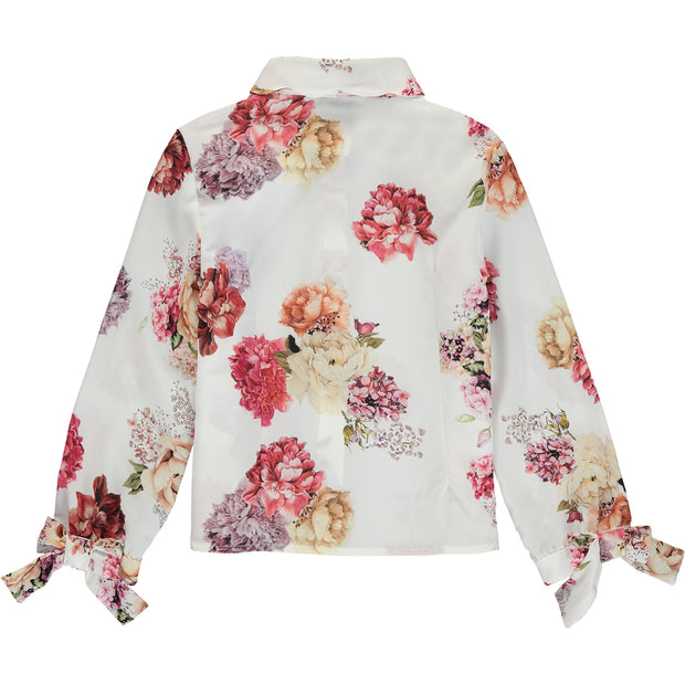 Girl Ivory Floral Blouse