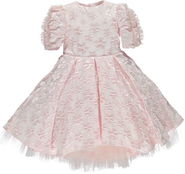 Girls Pink Flower Pearl Dress