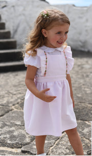 Girls Pink Pinafore Dress Set