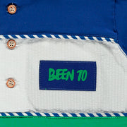 Boys White, Green and Blue Polo Shirt