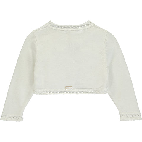 Girls White Knitted Cardigan