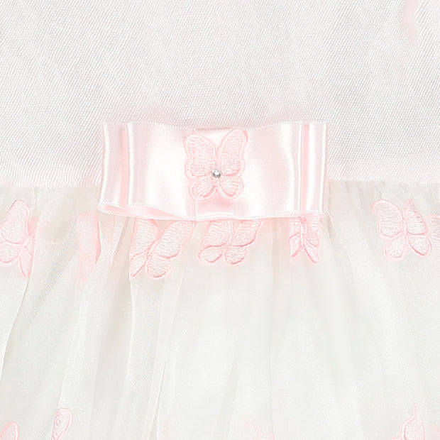 Pink Embroidered Butterfly Chiffon Dress