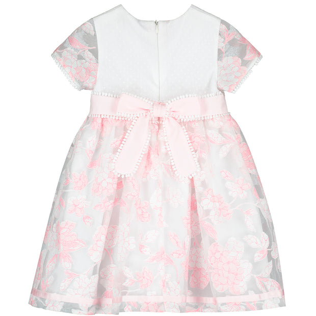 White and Pink Embroidered Flowers Chiffon Dress