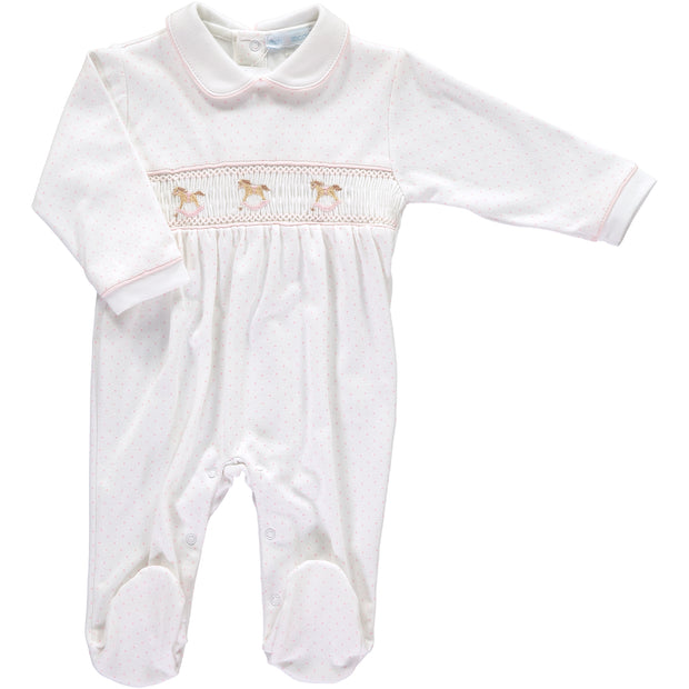 Girls Rocking Horse White and Pink Spotty Babygrow