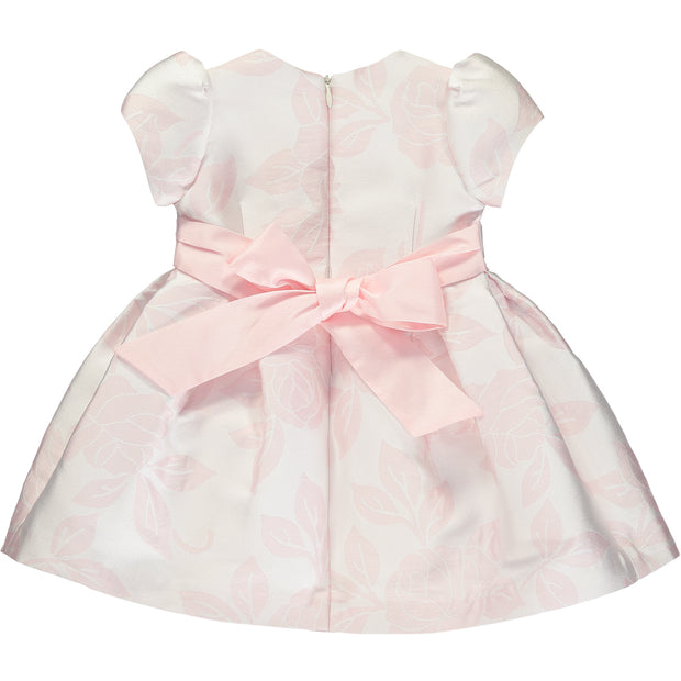 Girls Pink Jacquard Dress