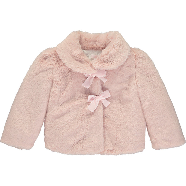 Girls Pink Faux Fur Coat