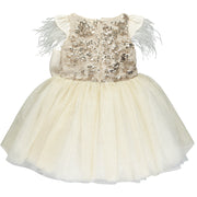 Girls Gold Sequinned Dress