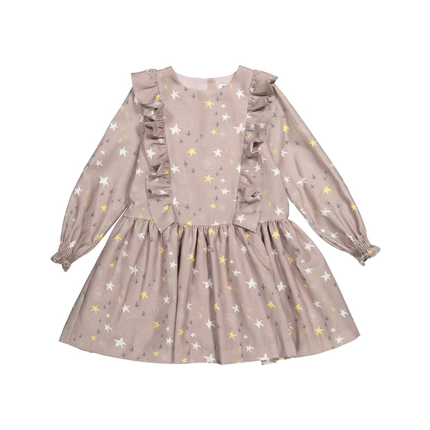 Girls Light Brown Cotton Dress