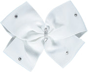 Large White Bow Hairclip with Swarovski Diamantes