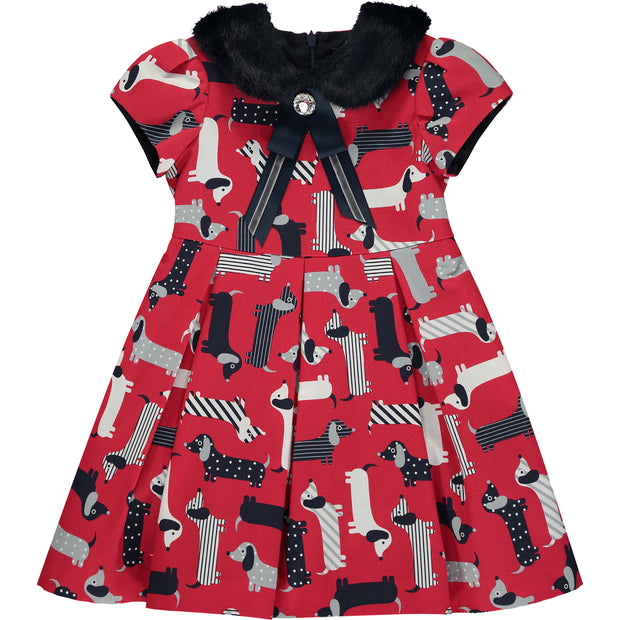 Girl Red Dog Print Dress