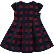 Girl Navy Blue and Burgundy Check Dress