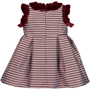 Girl Burgundy Sparkly Stripe Dress