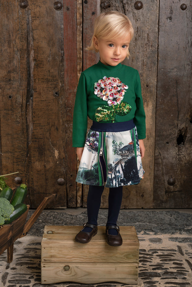 Girls Sequin Flower Top