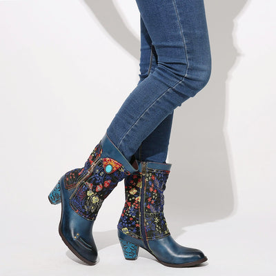 Blue Ethnic Boots