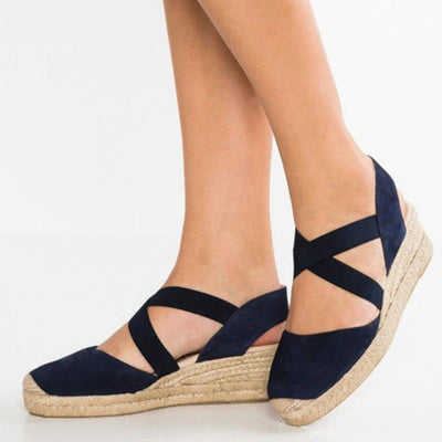 Cross Strap Casual Wedges