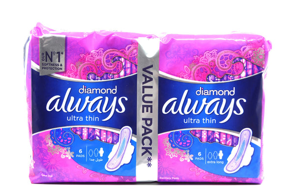 Always Ultra Diamond XL Night Pads Value Pack of 12's