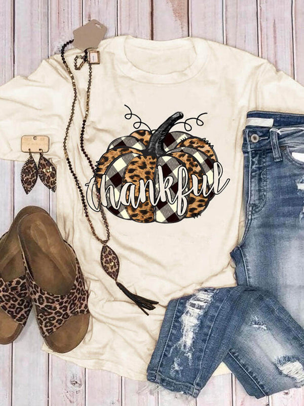 Plaid Leopard Splicing Thankful Pumpkin Tee