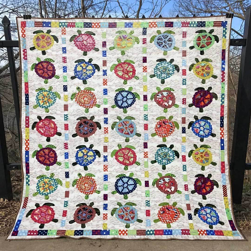 Colorful Turtles Blanket Quilt