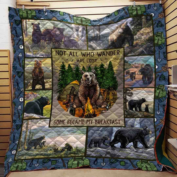 Bear Breakfast Camping Blanket Quilt