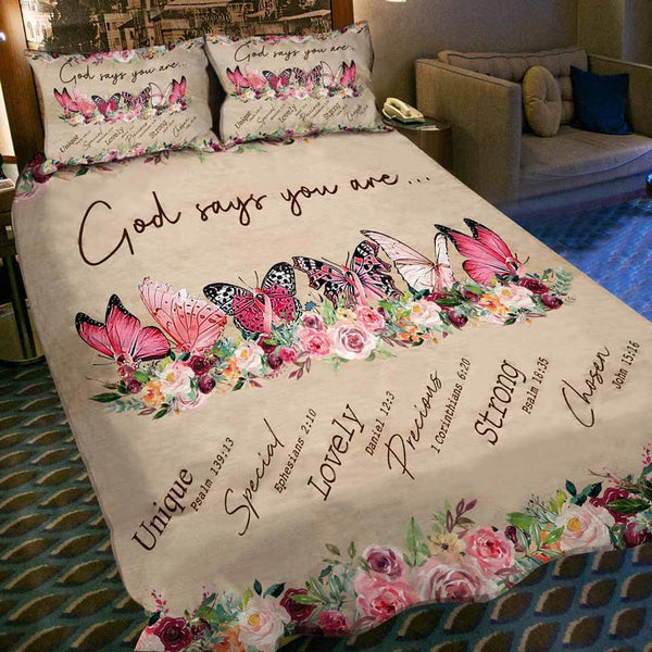 [PRE-SALE] Beautiful Butterflies God You Are Strong Duvet Cover Bed Set