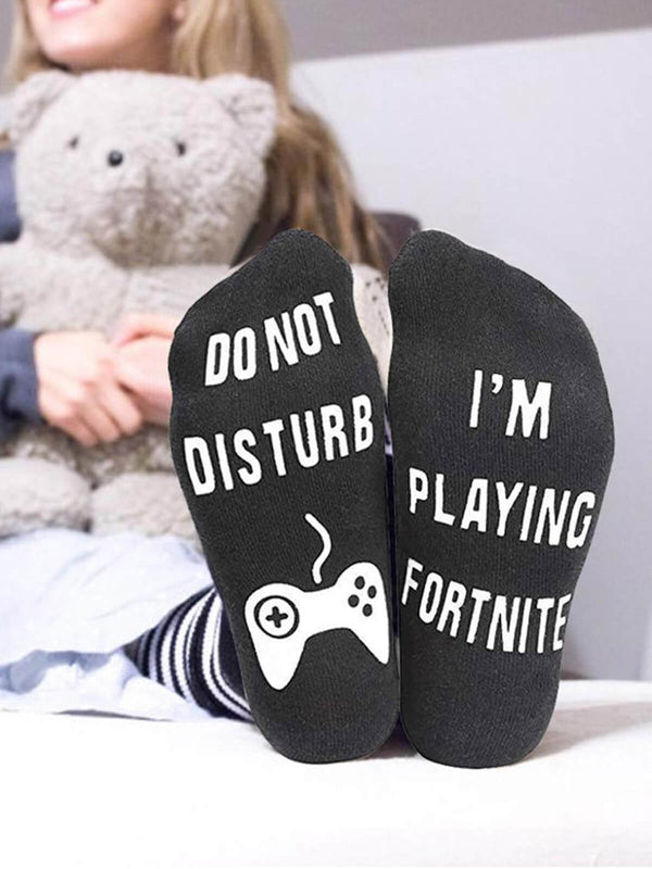 I'm Playing Fortnite Socks Black White Gray