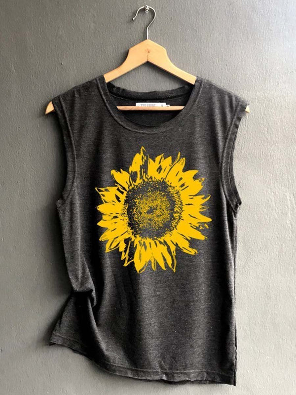 Sunflower O-Neck Tank Top