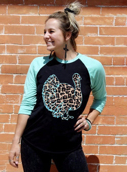 Leopard Printed Turkey Baseball T-shirt Tee