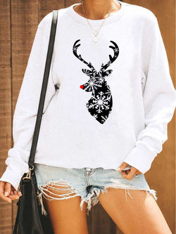 Reindeer Snowflower Printed White Sweatshirt